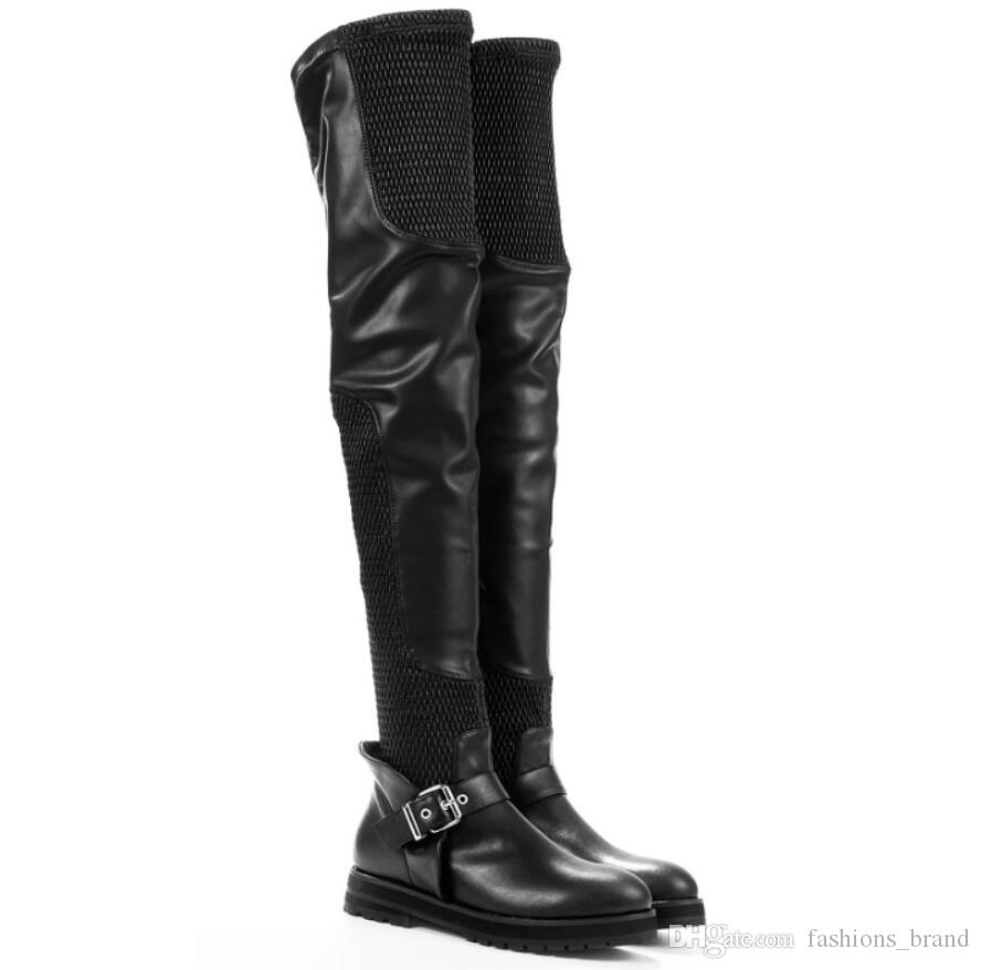 Fashion Super Long Booties For Women Buckled Mesh Air Flat Slip On Over The Knee Boots Stretch Runway Botas Mujer