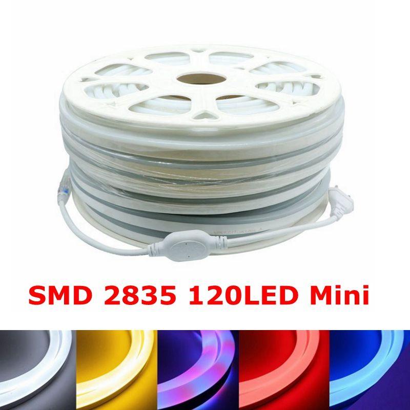 Edison2011 SMD2835 البسيطة لينة ضوء النيون 220V 120LED / M مرنة قطاع الصمام النيون أنبوب قطاع برايت السامية 8 ألوان
