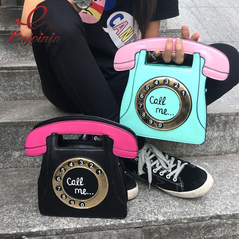 Al por mayor divertido manera de la personalidad forma de las letras de teléfono de la PU de las señoras bolso de cuero hombro de la cadena bolso de la aleta mensajero de Crossbody del bolso