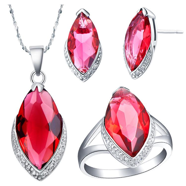 925 Sterling Silver suit set Austria crystal horse eye crystal European and American Crystal zircon pendant Necklace earring ring Jewelry Se