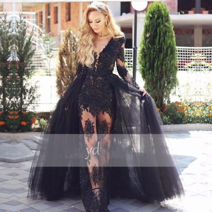 Neue ankunft schwarz abendkleider abnehmbare zug durchsichtig langarm spitze applique sexy prom dress 2017 perlen