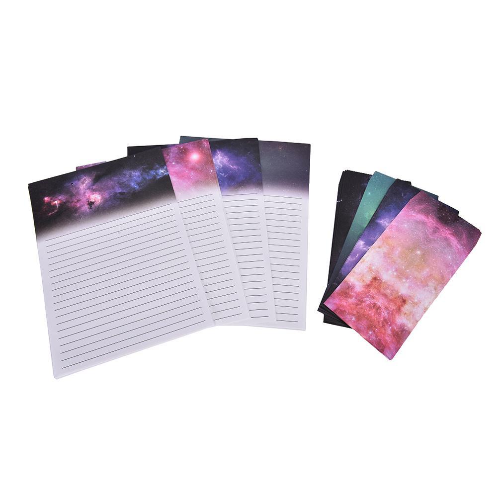 도매 - 쓰기 용지 6 시트 편지 종이 + 3 개 봉투 별이 빛나는 하늘 문자 패드 설정 빈티지 종이 봉투 고대 선물 종이 카드