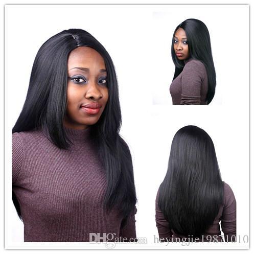 Xiu Zhi Mei 50cm U Part African American Long Straight Black Wig For Girl Heat Resistant Synthetic Women Wigs Natural Hair