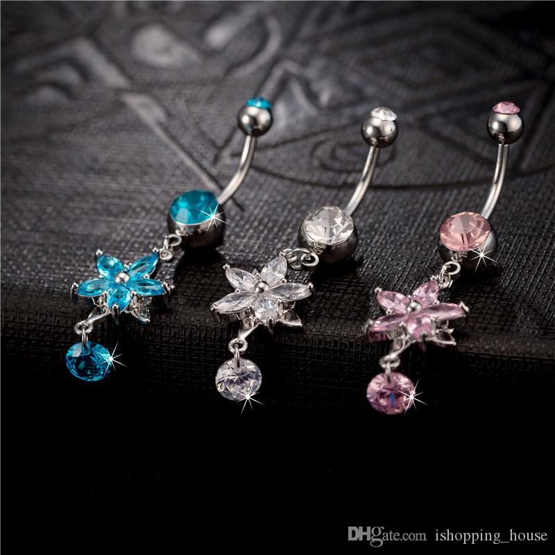 Fashion Sunflowers Zircon Navel Nail Women Body Piercing Jewelry Anti Allergy Navel Ring Sexy Ladies Bar Button Ring BR-122
