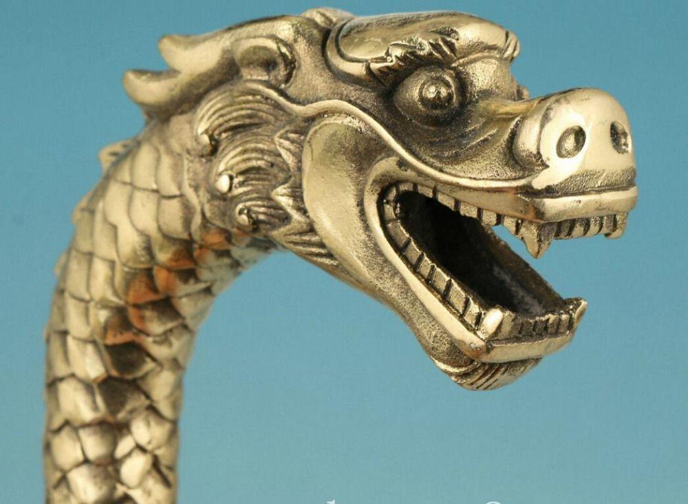 tête de bâton de marche statue Ancien bronze sculpté dans le dragon