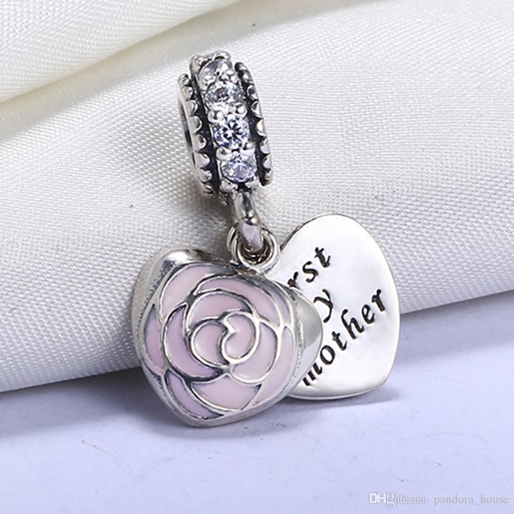 Usine En Gros Véritable 925 En Argent Sterling Non Plaqué Première Mon Coeur Mère Européen Charmes Perles Fit Pandora Chaîne Bracelet DIY Bijoux