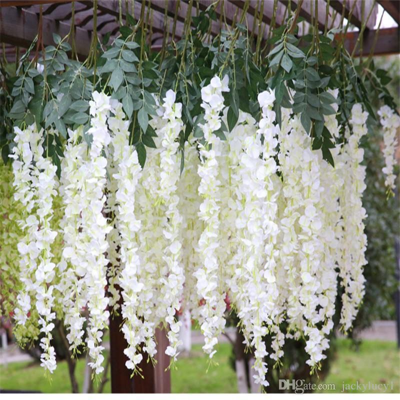 Nueva Llegada 12 unids / lote Romántico Artificial Wisteria Seda Flor Home Party Boda Jardín Decoración Floral Envío de la gota