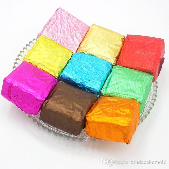 Free Shipping New Style Chocolate Package Tin Foil Baking Paper Thickening 9 Colours Candy Sugar Tea Wrapping Paper Decoration 12*12cm