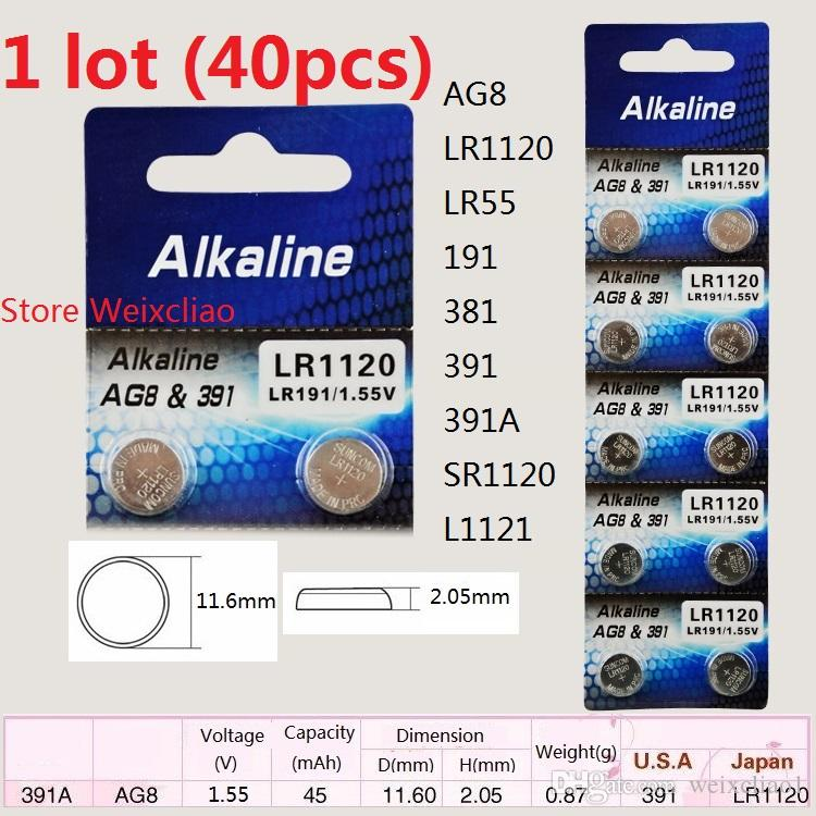 40 قطع 1 وحدة AG8 LR1120 LR55 191 381 391 391A SR1120 L1121 1.55 فولت بطاريات زر خلية البطارية القلوية عملة شحن مجاني