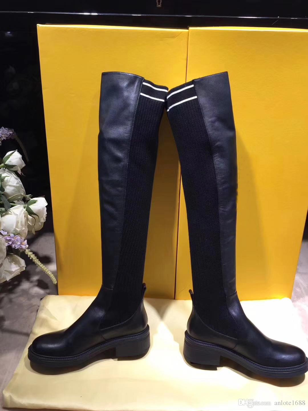 5edebd9759c Black Nappa Cuissard Long Boots Women Stretch Fabric Thigh High Boots  Designer Stripe Leather Creepers Girl Casual Dress Shoes Shoe Boots Over  Knee ...