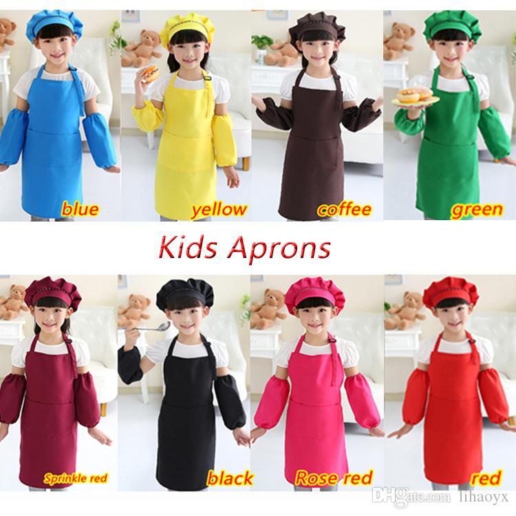 Hot sale 10 colors free delivery children's apron pocket craft cooking baking art painting children's kitchen dining bib pocket JD001