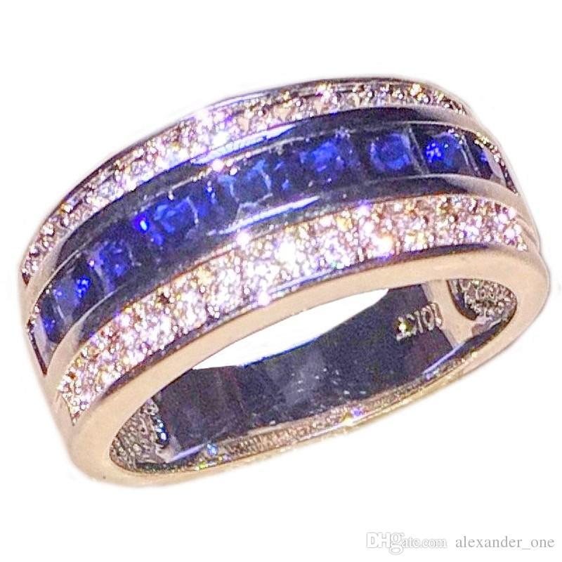 Moda 10KT oro riempito Princess-cut Square Cubic Zirconia Blue Gemstone Anelli Wedding Band gioielli per uomini donne