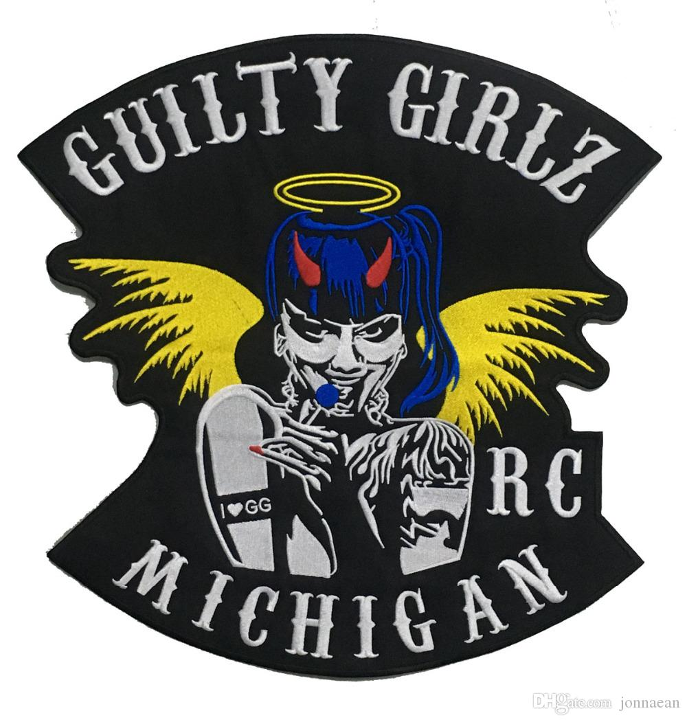 VENDITA CALDA RAGAZZA GIRLSBIKER RC MICHIGAN MOTO CLUB GILET OUTLAW MOTOCICLISMO MC GIACCA PUNK FERRO COOLEST SUL WEST PATCH SPEDIZIONE GRATUITA