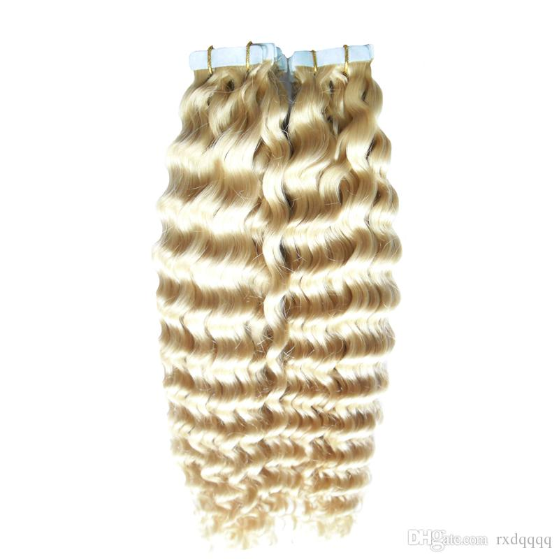 Blonde brazilian virgin hair kinky curly 40pcs/set Skin Weft Remy Human Hair Extensions 100g seamless hair extensions