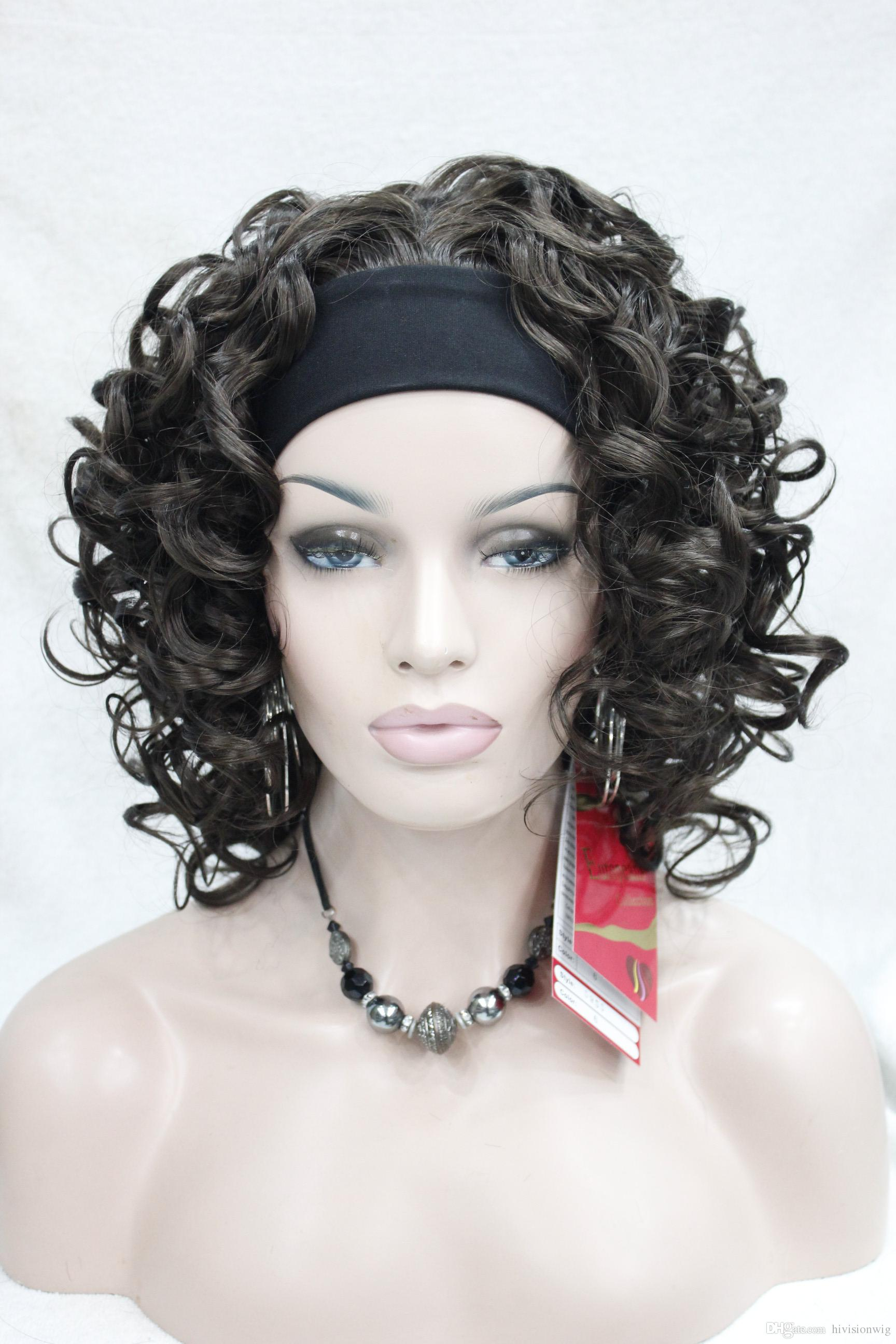 HIVISION Hot super sexy Dark Chocolate 3/4 wig with headband Medium curly women's half wig