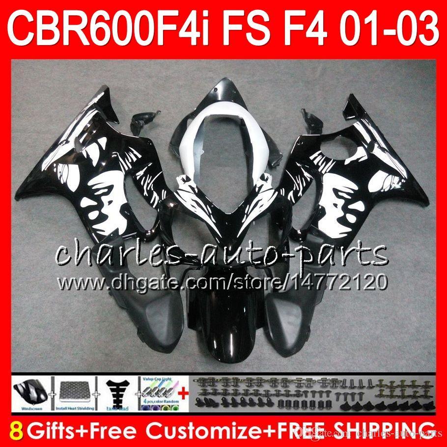8Gift 23Colors For HONDA CBR 600 F4i 01-03 CBR600FS FS 28HM18 Graffiti black CBR600 F4i 2001 2002 2003 CBR 600F4i CBR600F4i 01 02 03 Fairing