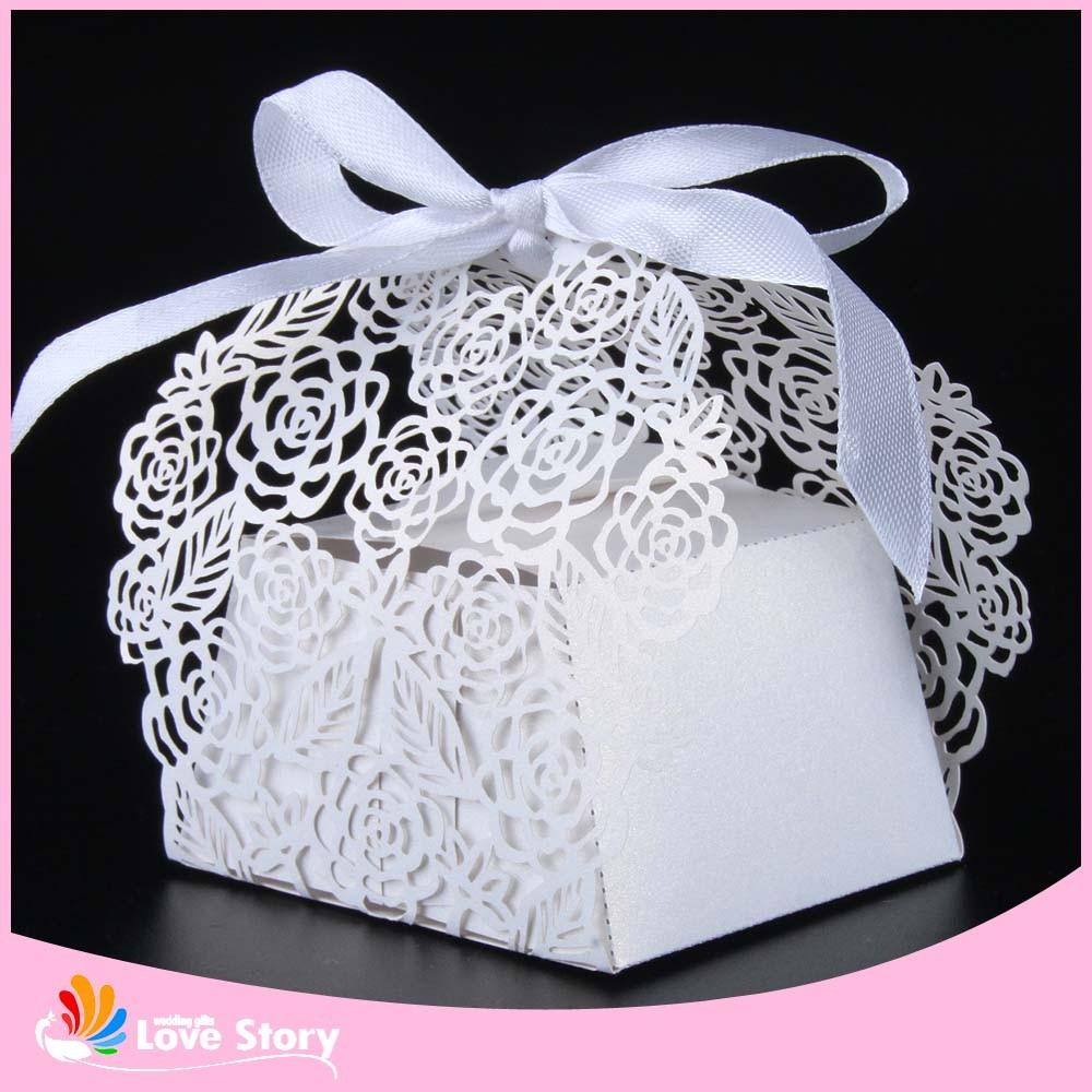 Rose Flower Laser Cut Candy Box Wedding Favor Box Party Favors Gift ...