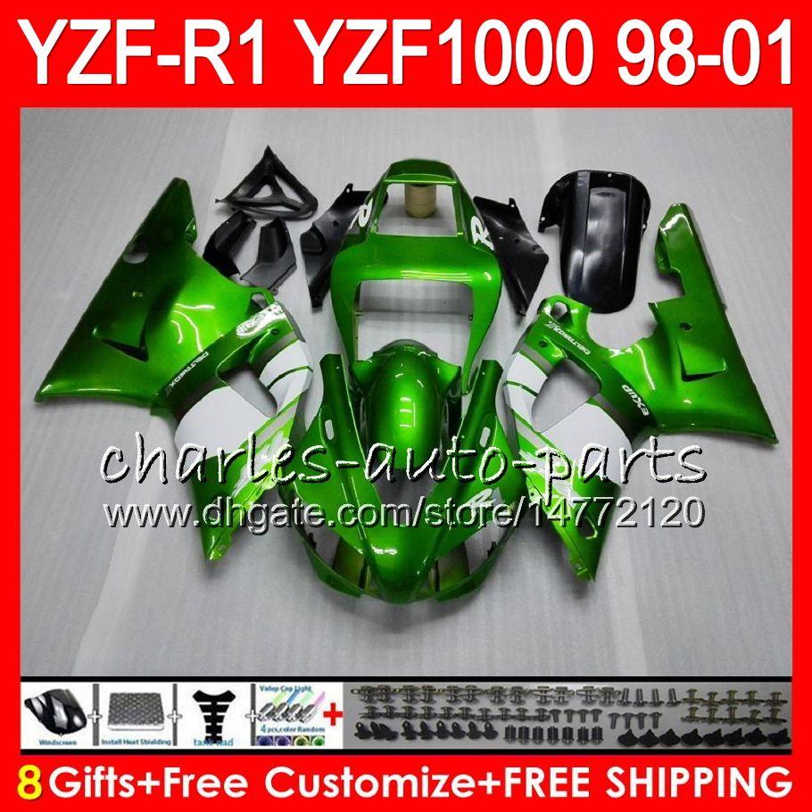 8Gift 23Color Corps Pour YAMAHA YZF1000 YZFR1 98 99 00 01 YZF-R1000 vert noir 61HM10 YZF 1000 R 1 YZF-R1 YZF R1 1998 1999 2000 2001 Carénage