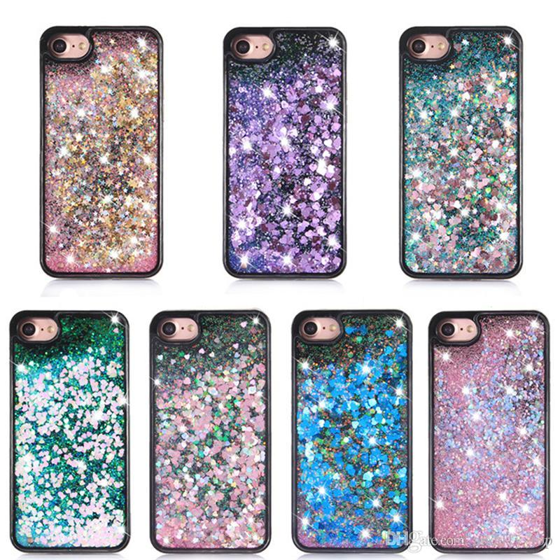 huge discount 4630b 6d1ef Quicksand Glitter Star Case For Iphone 7 3D Liquid Case Black TPU Floating  Glitter Heart Case For Samsung Galaxy S8 Cool Phone Cases Customize Phone  ...