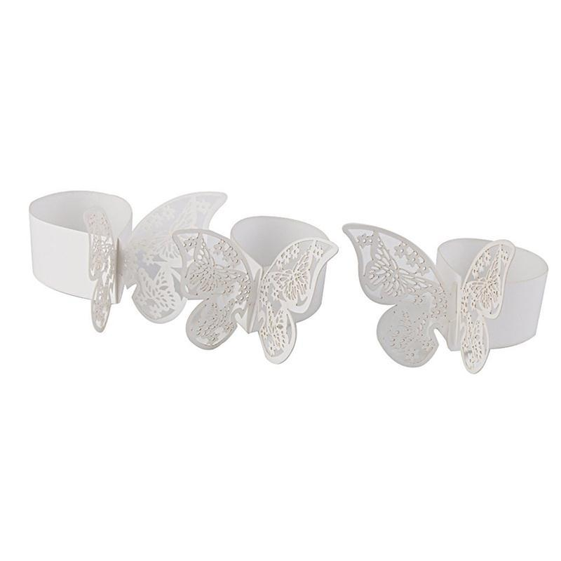 Wholesale- 50PCS Paper Butterfly Napkin Rings for Weddings Party Serviette Table Decoration 3D Butterfly Paper Napkin Ring Holder