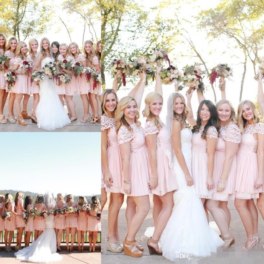 2017 blush pink chiffon lace bridesmaid dresses country cheap short 2017 blush pink chiffon lace bridesmaid dresses country cheap short sleeve mini above knee length maid ombrellifo Choice Image