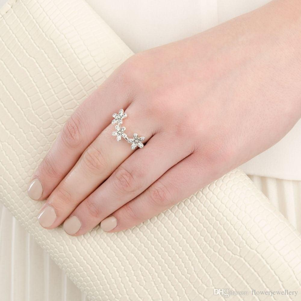2018 Dazzling Daisies Stackable Ring, Clear Cz Rings For Wedding ...