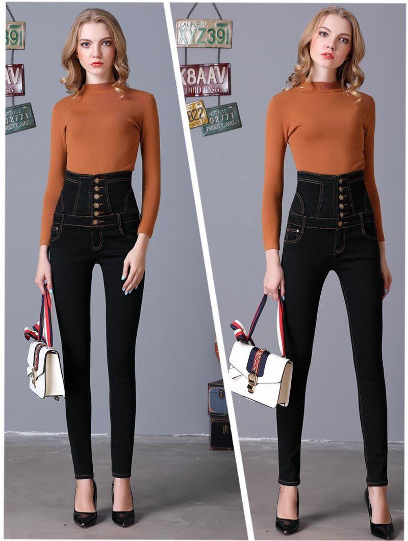 Compre Skinny Cotton Zip Fly Jeans Rectos Para Mujer Pantalones De Mezclilla De Talle Alto Para Damas Tight Jeans Para Mujer Pantalones Elasticos Pantalones Blue Jeans Para Ninas Uso A 15 04