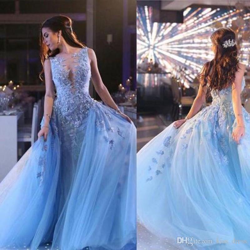 Abiti da ballo romantici in pizzo azzurro cielo Treno staccabile Tulle Abiti da sera celebrità Applique Sirena Abiti occasioni speciali 2019 P312