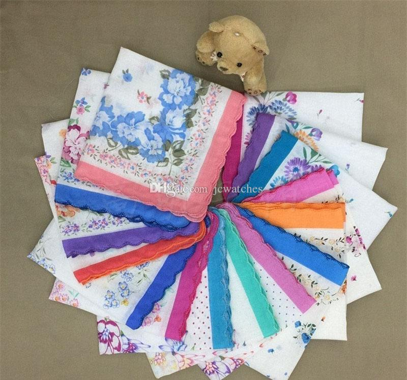 Ladies Flower Floral Handkerchief Male Female Print Hand Towels Fashion Cotton Hanky