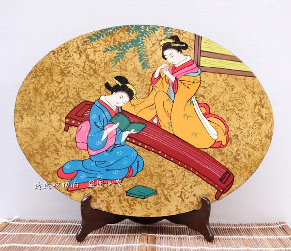 L'antica geisha giapponese in Giappone e giapponese lacca artigianato ornamenti materiali di decorazione forniture ovale