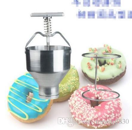 수동 도넛 형 예금자 Medu Vada Dropper 플런저 반죽 토스터 디스펜서 호퍼
