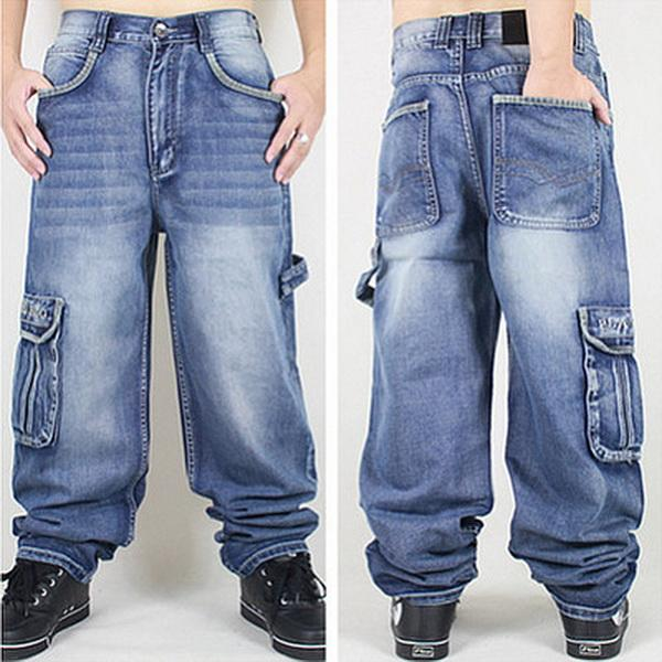 Al por mayor-Lavado Hombres Baggy Jeans Mens Hip Hop Jeans Largo Loose tendencia tendencia Skateboard Baggy Relaxed Fit Jeans Hombres Street dance Pants