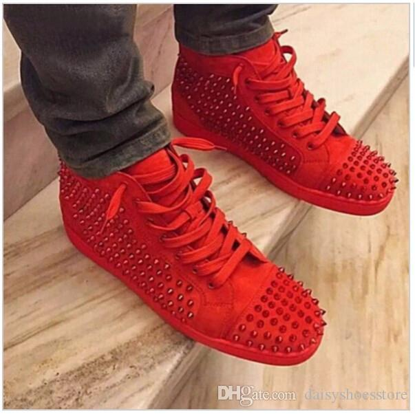 New Fashion Rivet Studs Mens Shoes Casual Lace Up Superstar Platform Shoes Men Trainers Suede Leather High Top Spiked Sneakers Navy Shoes Blue Shoes