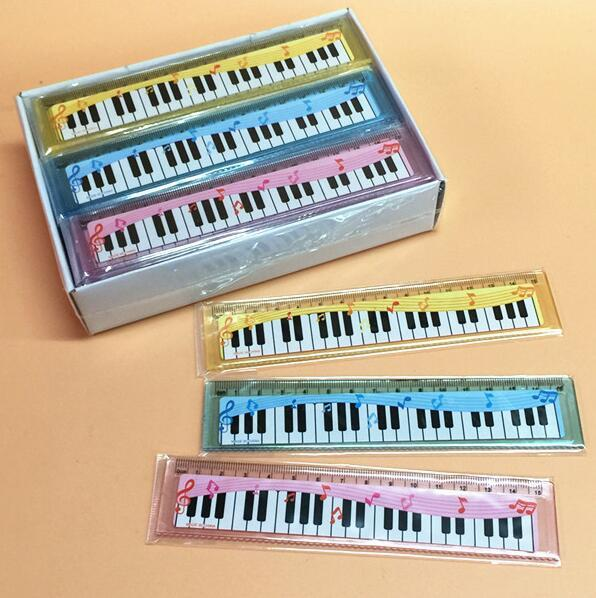 Free Ship 100pcs Funny Colorful 15cm Cartoon Piano Musical Note Ruler bookmarks School Student Ruler Creative gift lovely ruler for Kids