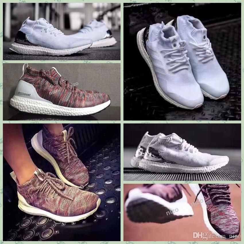 uk availability 5f97c efea5 2017 Ronnie Fieg KITH X Ultra Boost Mid Primeknit White Multicolor  Consortium Uncaged Unisex Running Shoes Kith Ultra Boosts 36 44 Running  Shoes For ...