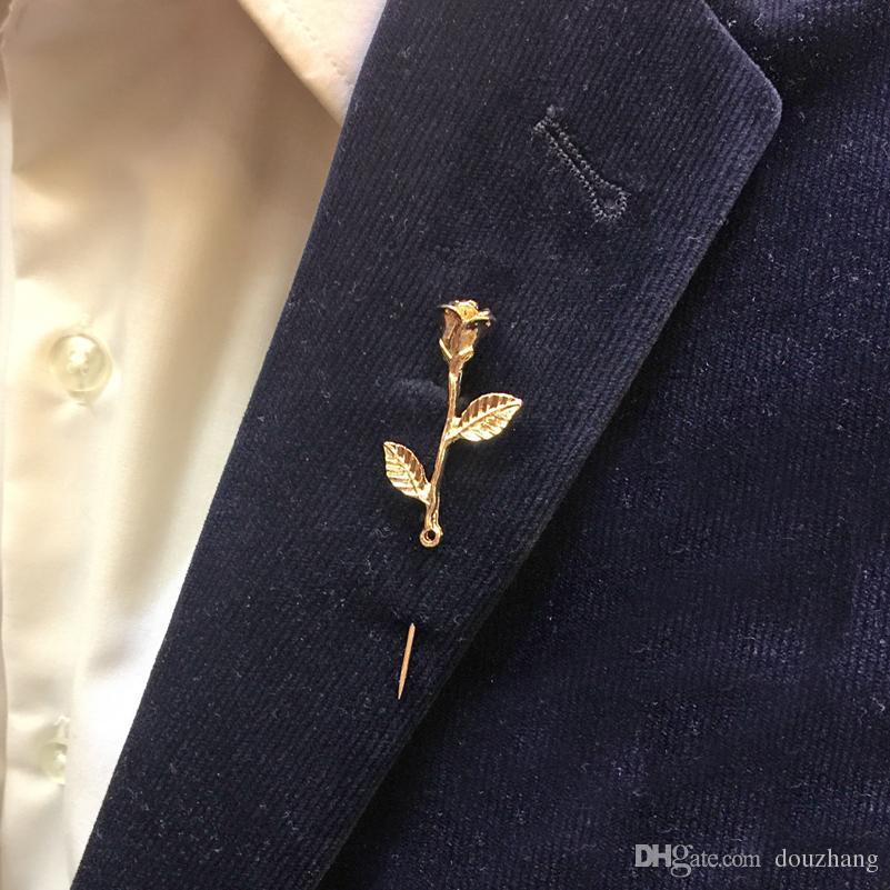 Unisex Gül Çiçek Broş Pin Erkekler Suit Aksesuarları erkek Takım Elbise için Klasik Yaka Iğneler Düğün Parti Uzun Pin Sürü 12 Adet