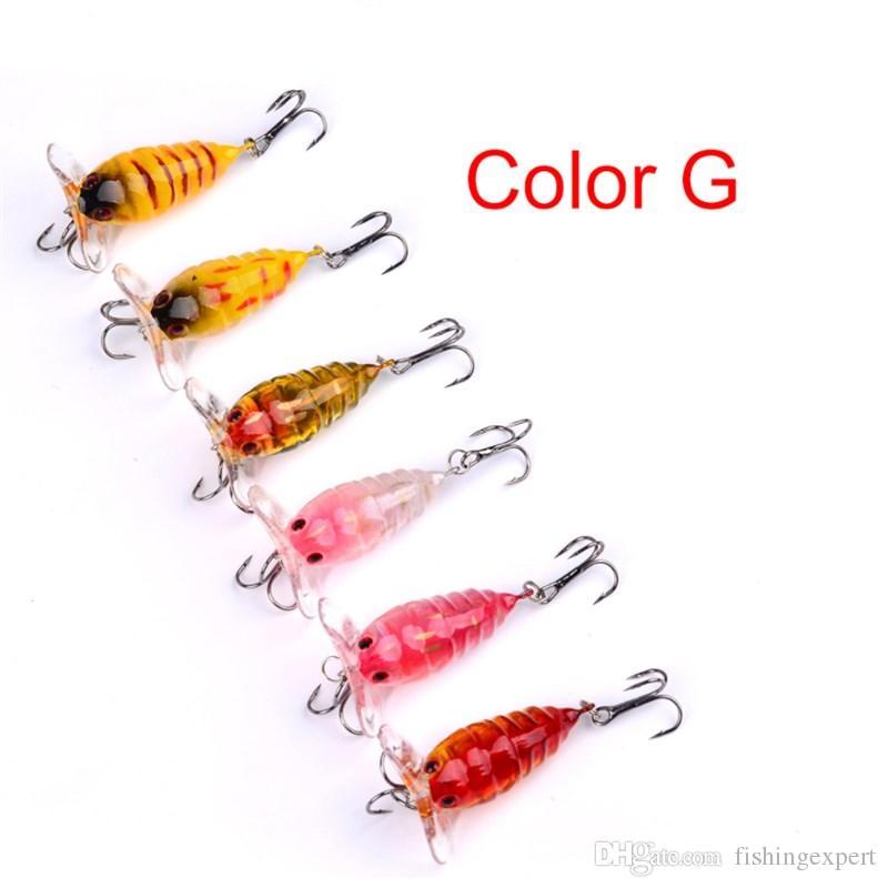 6PCS Insect Fishing Lure 4cm Lifelike Cicada Fishing Baits 4.2g Bionic Plastic Hard Baits for Saltwater Freshwater