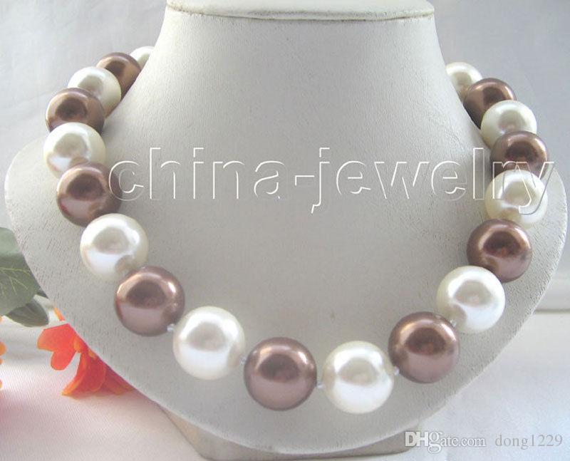 """18 """"collana di perle di conchiglia del mare bianco rotonda perfetta di 12-16mm"""