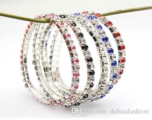 3mm~4mm Single Line/Row Stretched Crystals Rhinestones Setting Elastic bracelets Popular Plain Stones Glass with Metal Cup Bracelets