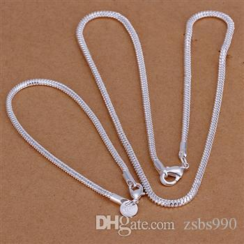 Best-selling 925 silver the 3MM snake chain necklace bracelet charm jewelry set free shipping 10set