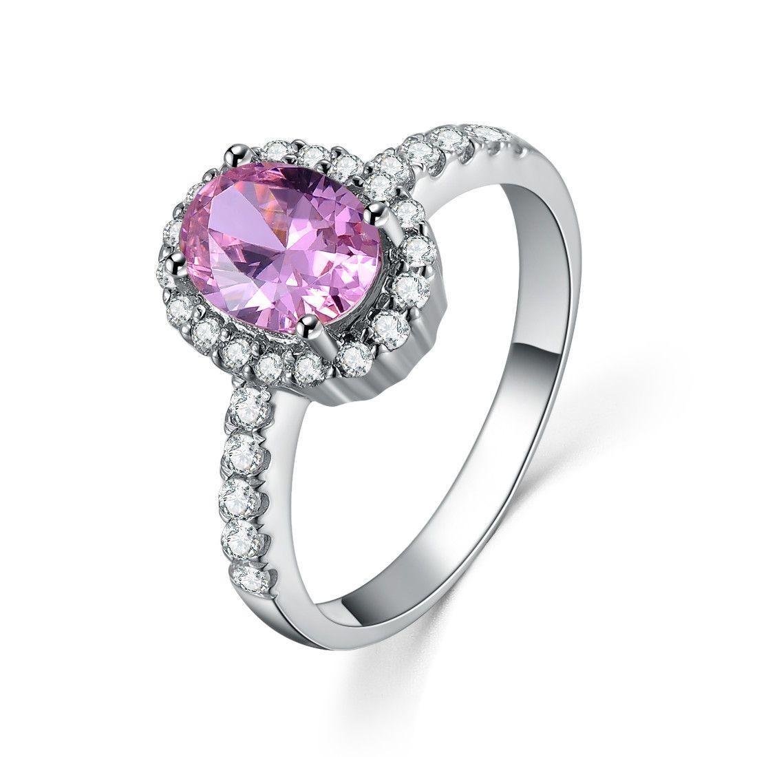멋진 2Ct 핑크 타원형 컷 합성 다이아몬드 웨딩 여성 반지 고체 925 스털링 실버 Annivesary 선물 화려한 영원히 보석