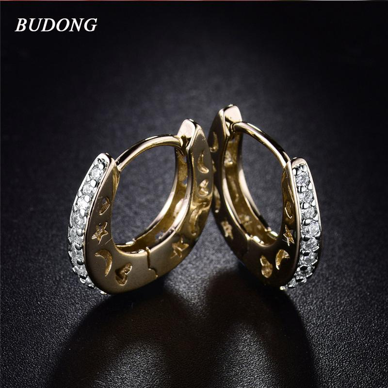 Großhandel - Budong Mode Silber / Gold Farbe Kleine Mond Sterne Hoop Ohrringe für Frauen Stein CZ Zirkonia Kristall Hochzeit Schmuck Xue108