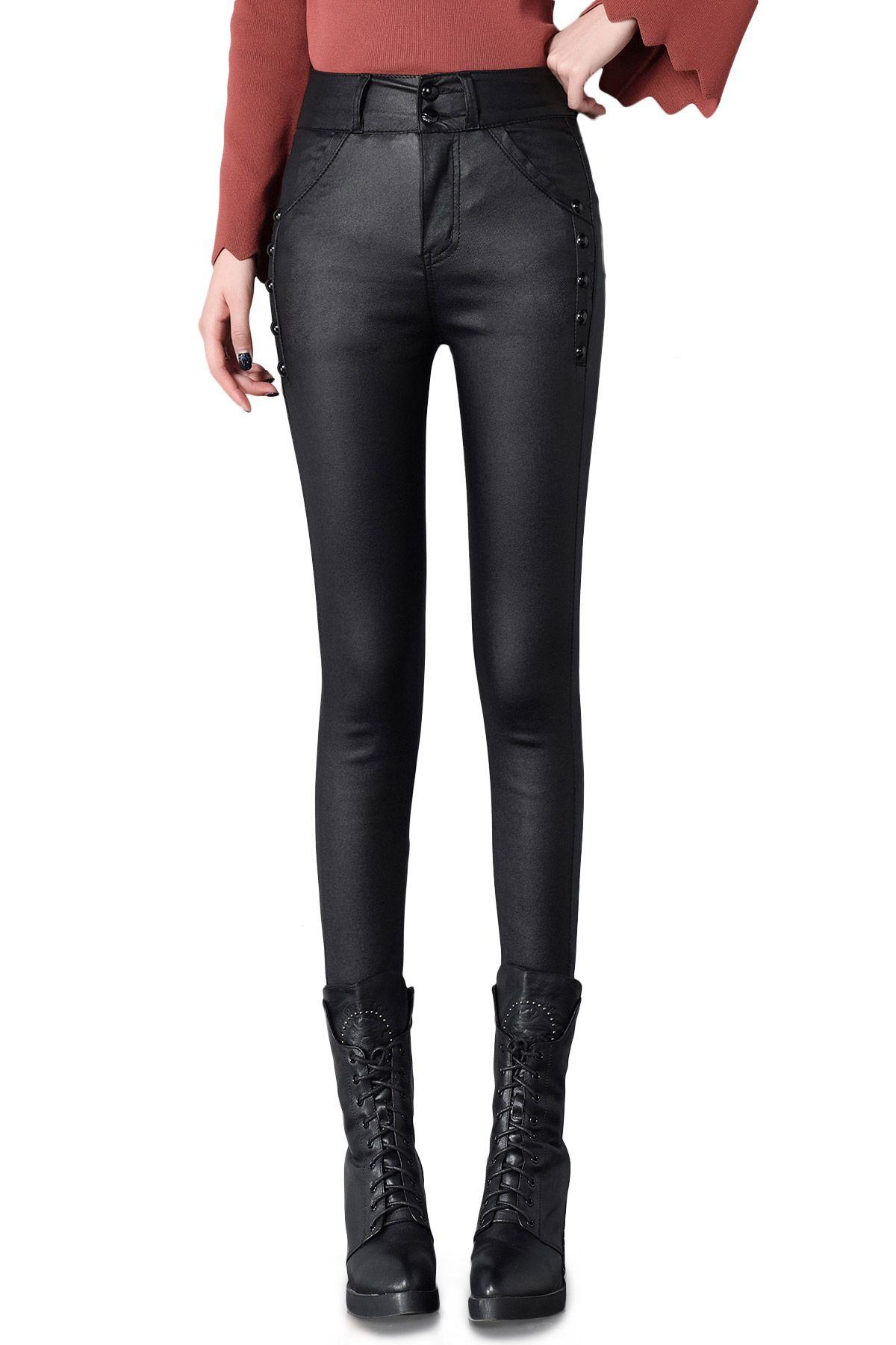 Relatively 2018 Fashion Women Faux Leather Pants Skinny Leggings Black Solid  EB99