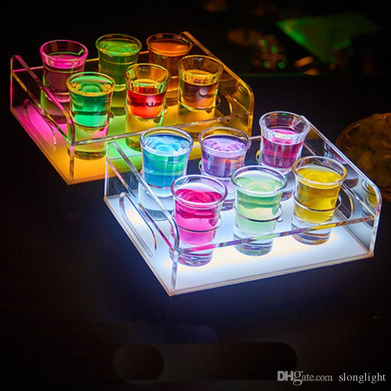 Free Shipping 6/12-Bottle Shot Glass Tray Bullet Cup Holder colorful LED rechargeable light up Wine cups rack bars ice buckets