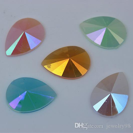 200pcs 13*18mm AB Jelly Color Drop Acrylic Rhinestones Crystal Pear flat back Beads DIY Jewelry Garment Accessories ZZ553