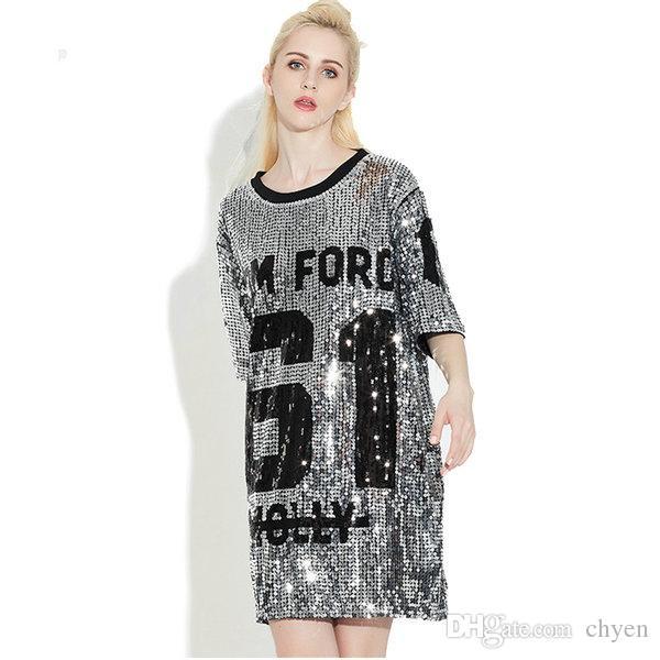 Woman Club Dresses 2019 Sequin T Shirt Dress Plus Size Loose Tee Shirts Glitter Tops Christmas Dress Women Fashion Free Shipping