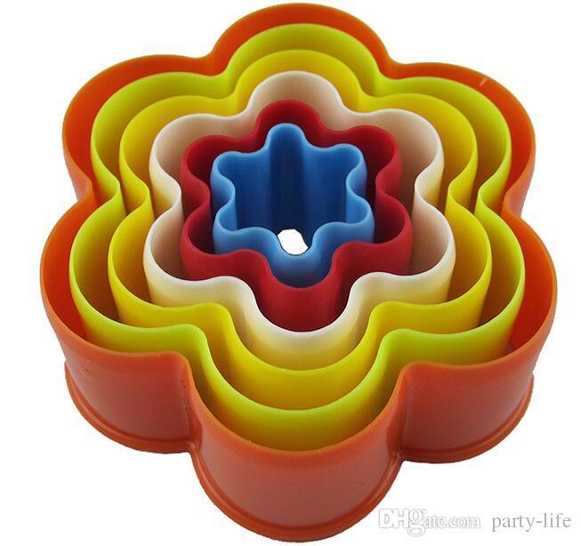 100 jogos / lote, 6 pçs / set plástico ameixa forma de açúcar sugarcraft fondant cortador de moldes ferramentas de decoração do bolo cortadores de biscoito pasta de molde