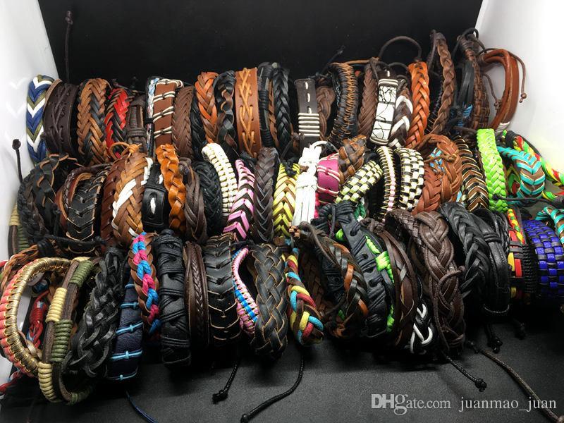 Heißer Verkauf 50 stücke Lots Top Surfer Tribal Leder Manschette Armband Armband Schmuck Für Männer Frauen Geschenk Gemischte Art Senden Random