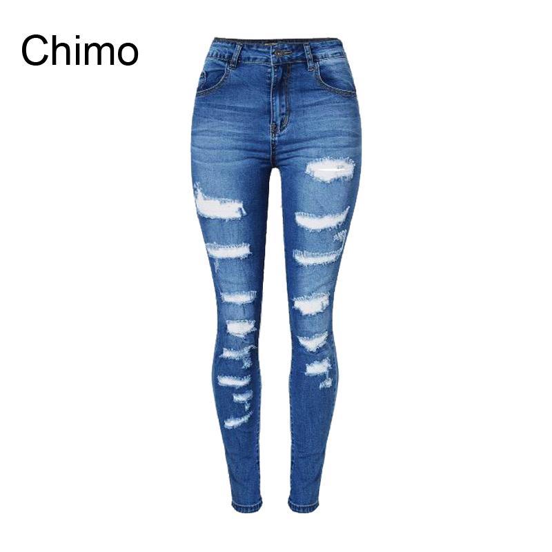 Wholesale- 2017 Jeans Woman Ladies Cotton Denim Pants Ripped Boyfriend Jeans For Women Skinny High Waist Denim Jeans For Female Trousers
