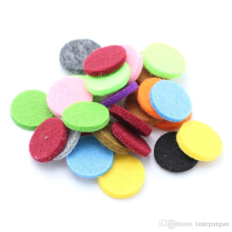 Colorido 18 MM Almohadillas de fieltro para 25mm Difusor de aromaterapia Aceite esencial Difusor Perfume Locket Colgante de memoria Locket